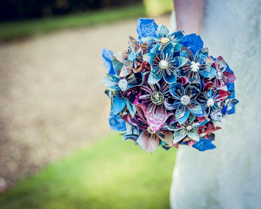 Wedding photography at Highbury Hall in Birmingham paper and button flower bouquet handmade