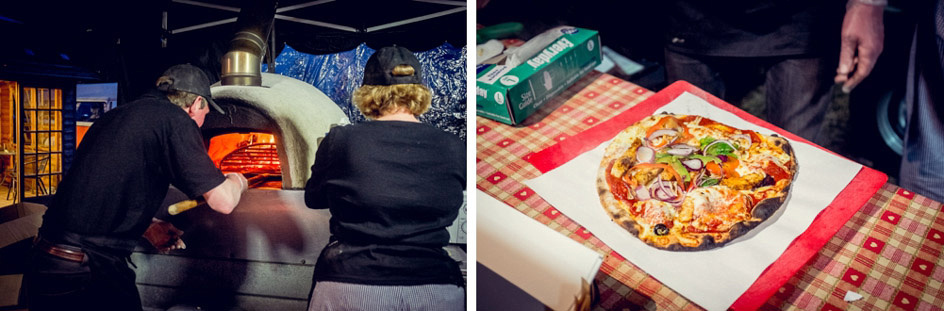 pizza at Wootton Park wedding