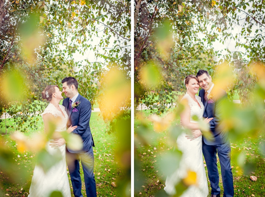 Wedding Photography at Curradine Barns in Worcestershire Autumn leaves  portrait silver birch