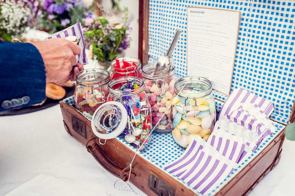 sweets in vintage suitcase