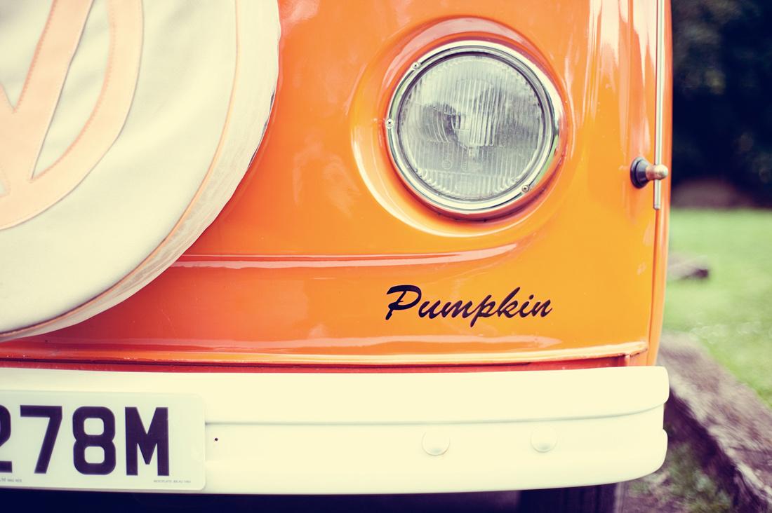 Pumpkin orange VW camper van vintage