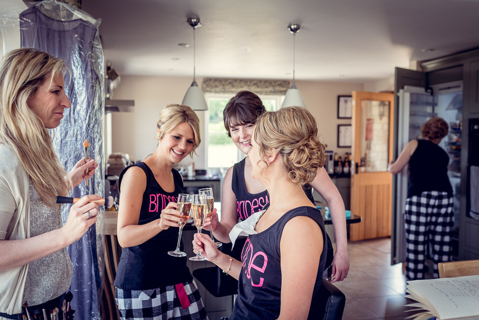 Bridesmaids getting ready for Gloucestershire wedding