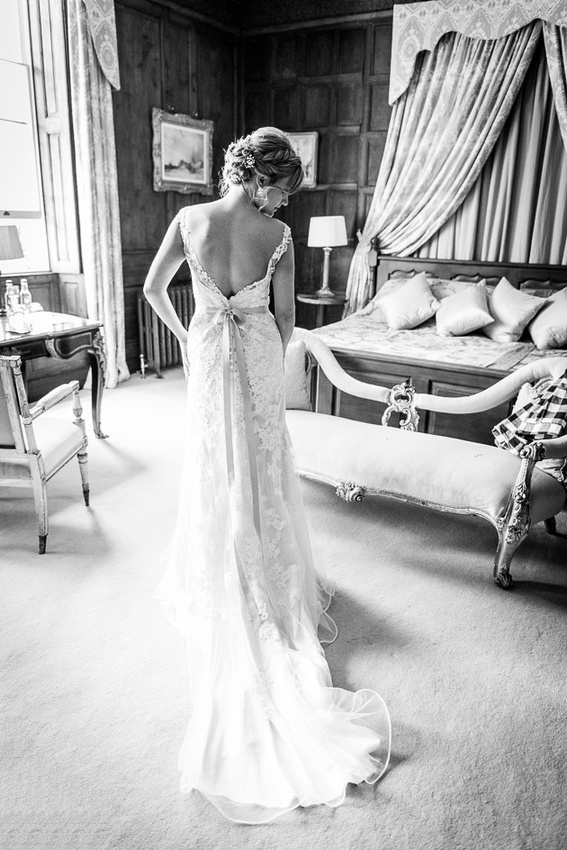 A beautiful wedding dress at Elmore Court in Gloucestershire