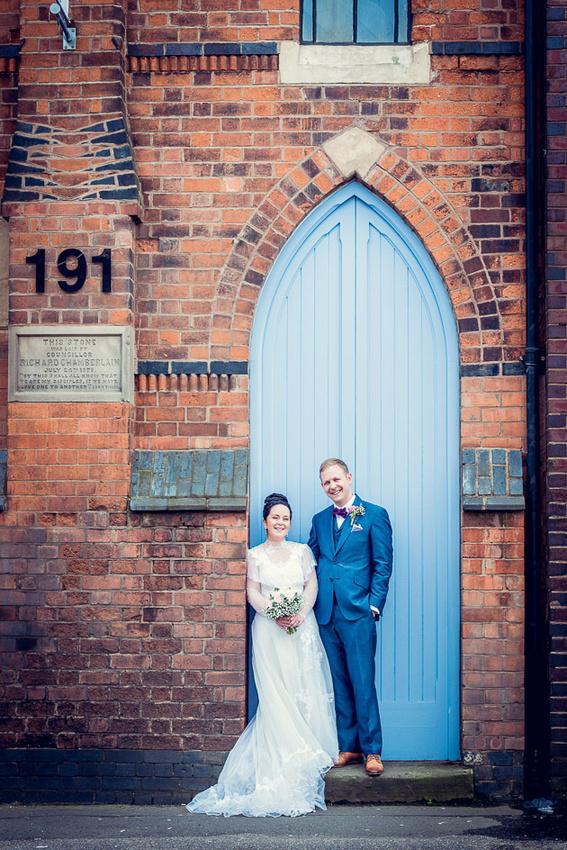 bride and groom outside Fazeley Studios
