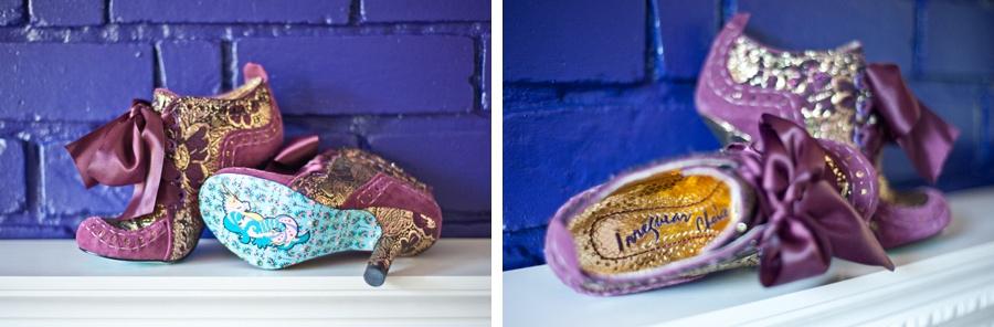 bridal shoes Irregular Choice purple goth ribbons