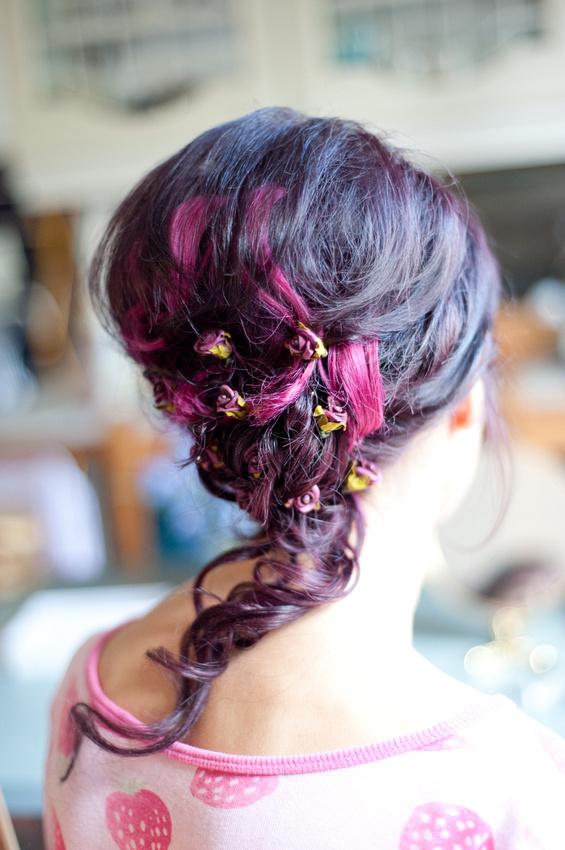 bride hair purple flowers Birmingham wedding getting ready