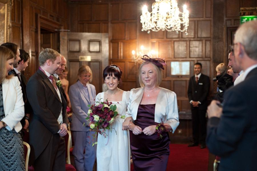 bride walking down aisle with mum New Hall Birmingham