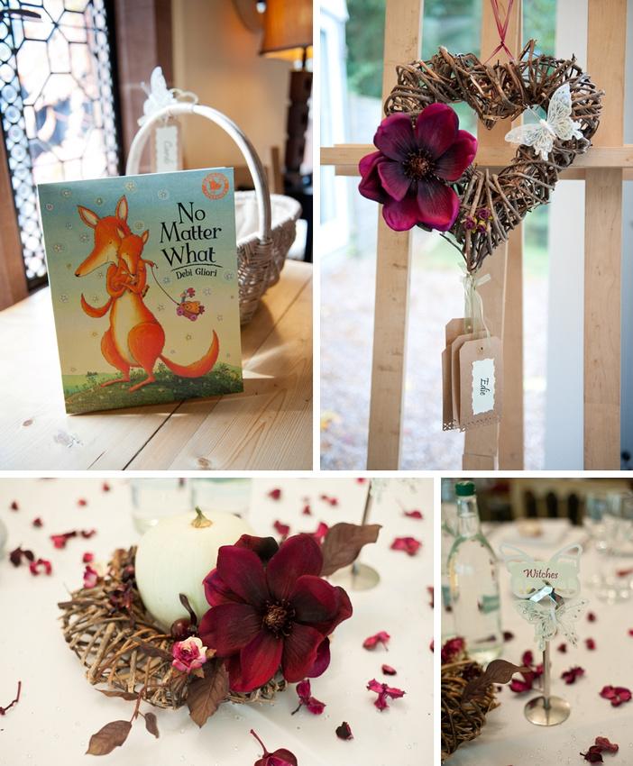 Autumn wedding reception details table decorations purple flowers pumpkins