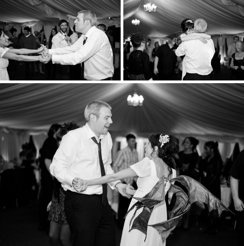 bride dancing fairy wings alternative wedding Birmingham reportage photography