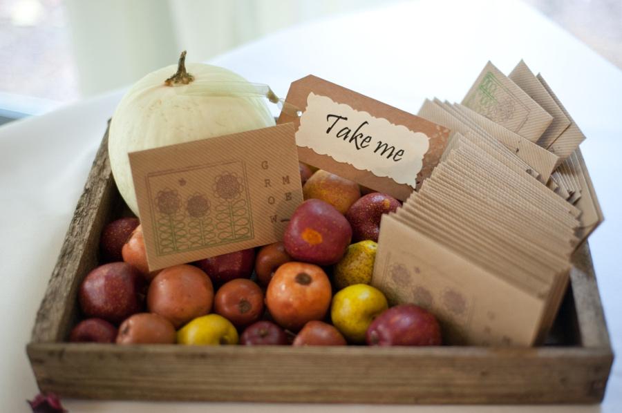 Autumn wedding favours pumpkin sunflower seeds apples