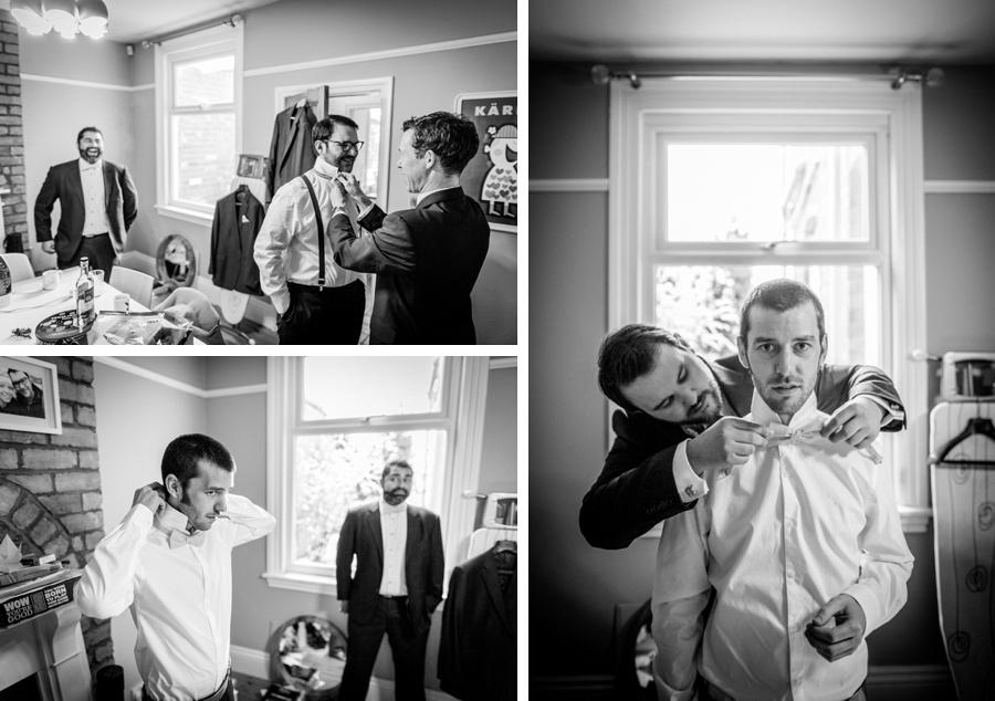"vintage wedding photography photographer ""Fazeley Studios"" Birmingham  groom preparation documentary ""bow tie"""