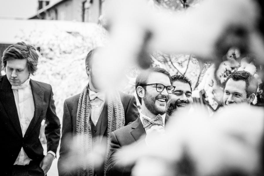 "vintage wedding photography photographer ""Fazeley Studios"" Birmingham  groom preparation documentary snow laughing"