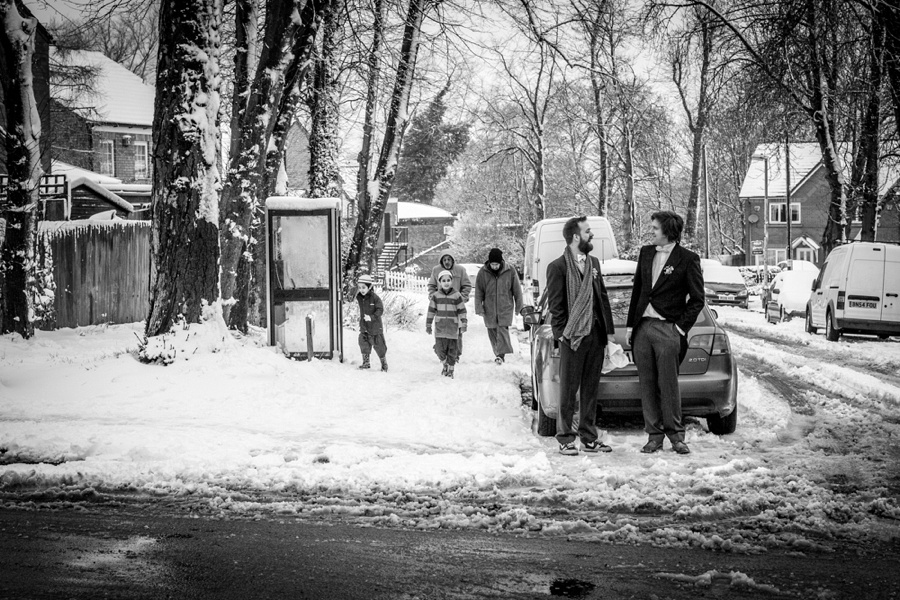 "vintage wedding photography photographer ""Fazeley Studios"" Birmingham  groom preparation documentary snow"