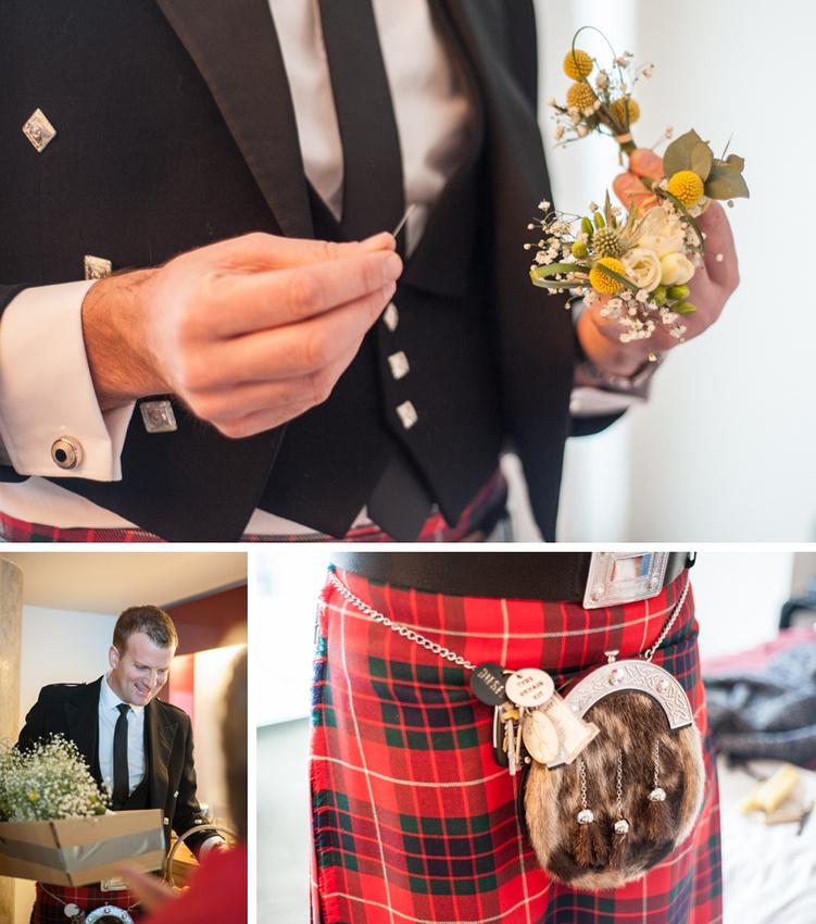 "vintage wedding photography photographer ""Fazeley Studios"" Birmingham  bridal preparation flowers kilt documentary"