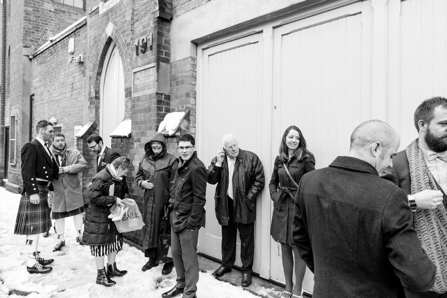 "vintage wedding photography photographer ""Fazeley Studios"" Birmingham snow guests waiting"
