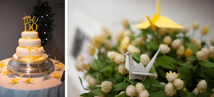 "Birmingham wedding photographer ""Fazeley Studios"" vintage photography cake yellow grey origami cranes"