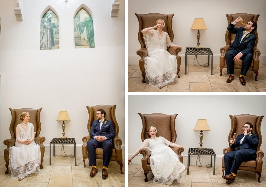 "Birmingham wedding photographer ""Fazeley Studios"" vintage photography bride groom armchairs fun portrait"