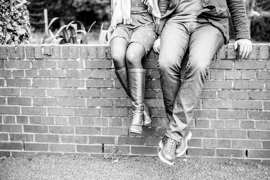 pre-wedding, photo, shoot, photos, Redhouse Barn, Stoke Prior, Worcestershire, Bromsgrove, legs, wall, B&W