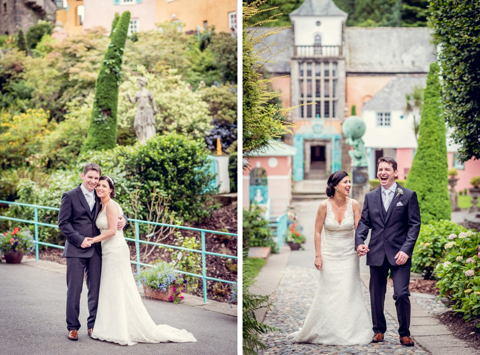 Bride and groom in Portmeirion