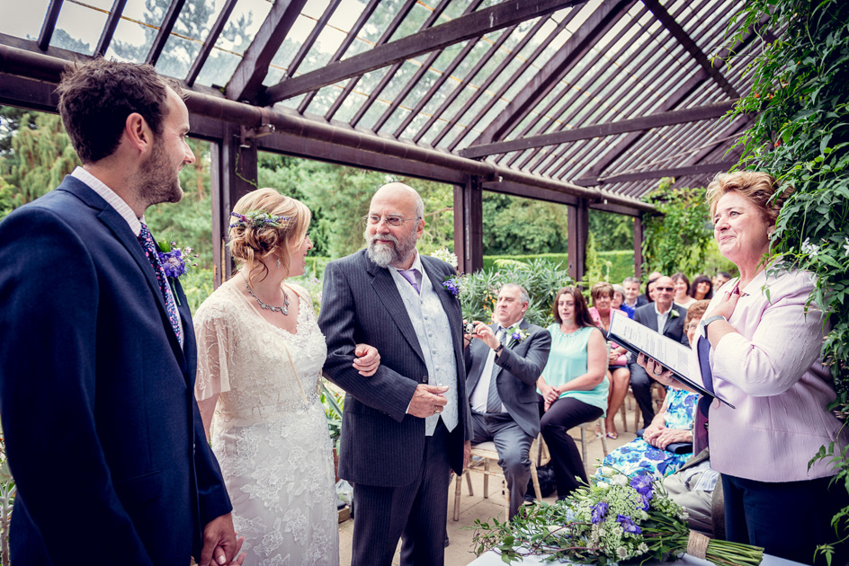 father giving away bride at Hidcote Manor wedding