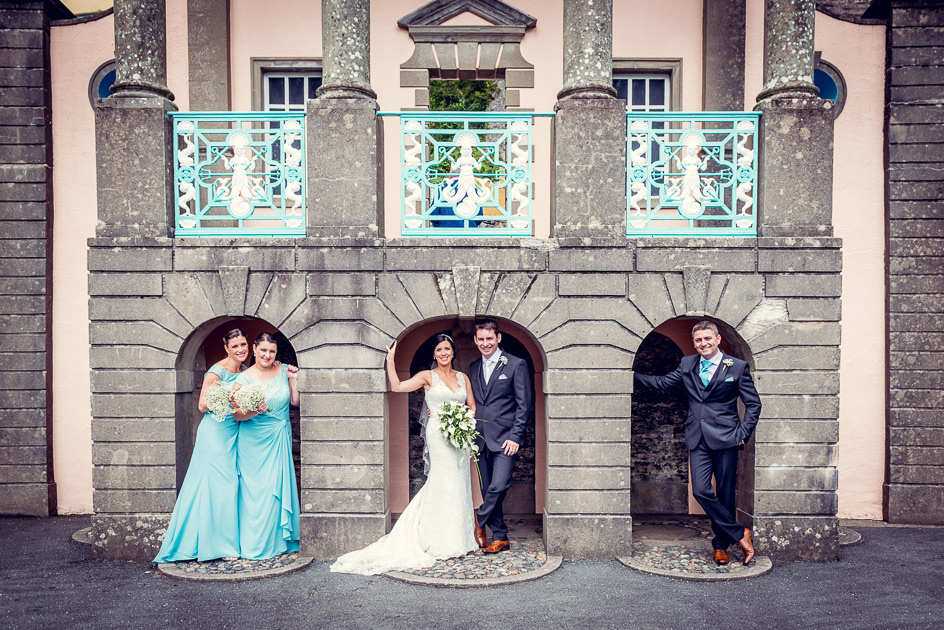 Bridal party pose in Portmeirion's Central Piazza