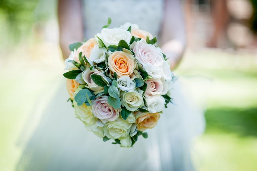 bride, bouquet, peach, eucalyptus