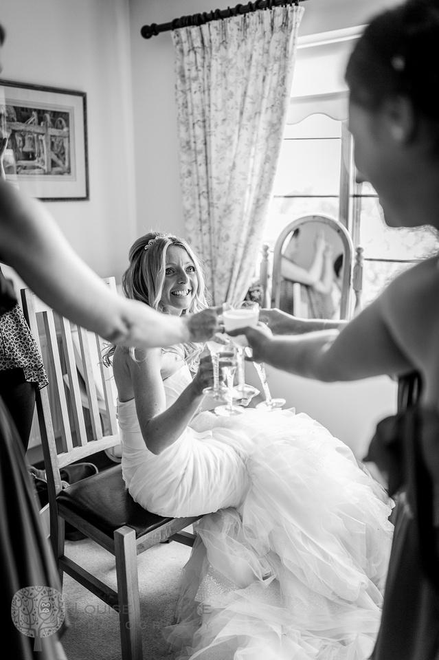 wedding, Hanbury, Worcestershire, bride, getting ready, Vera Wang, dress, natural, documentary, photography, toast
