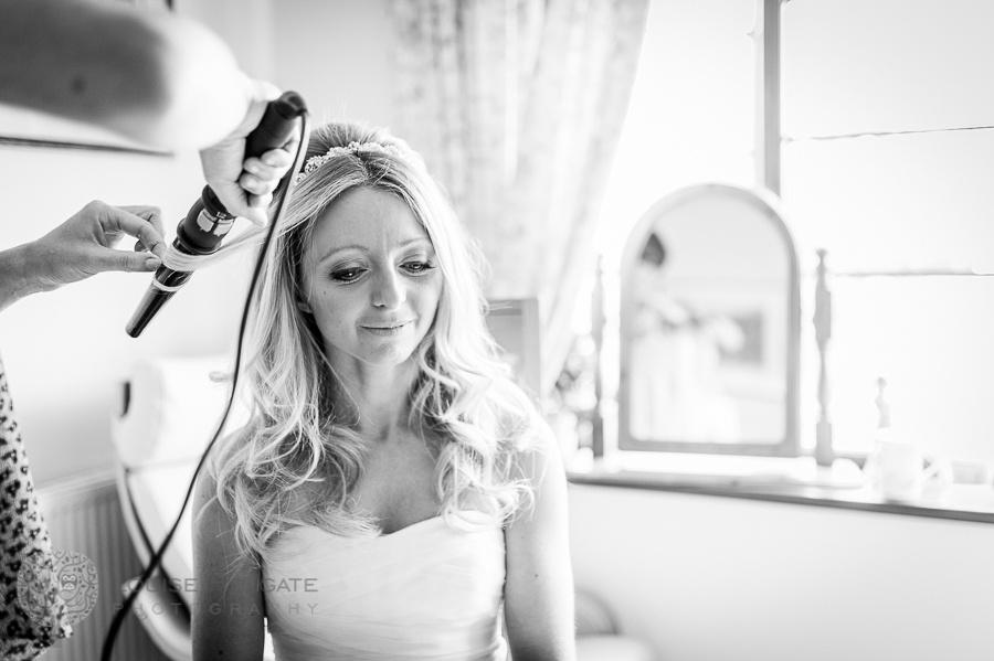 wedding, Hanbury, Worcestershire, bride, getting ready, Vera Wang, dress, natural, documentary, photography, hair