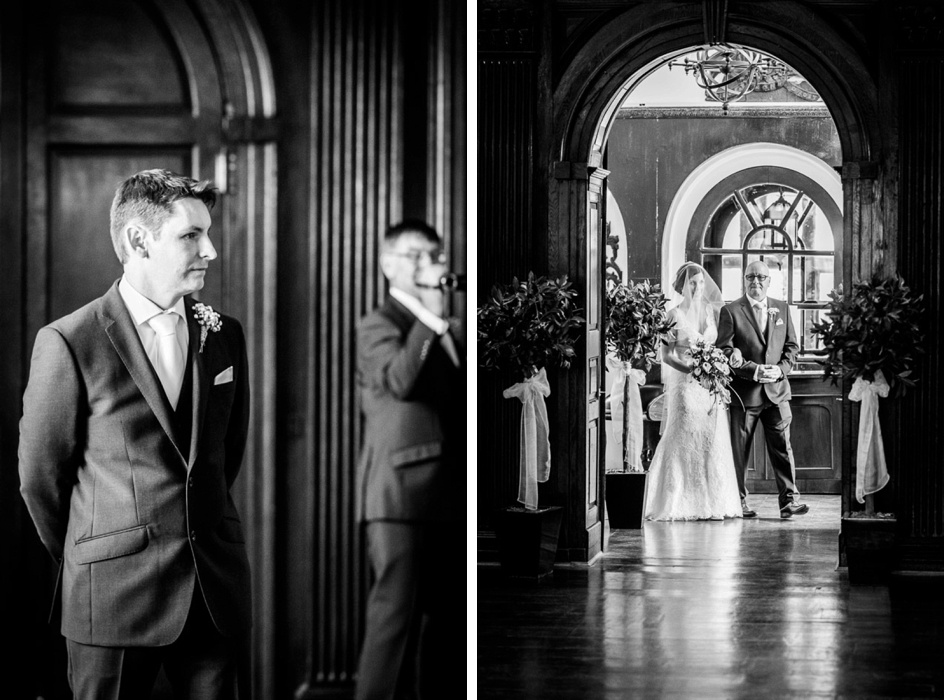 Groom waits for bride walking into Portmeirion's Hercules Hall