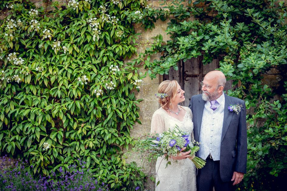 bride with dad before wedding at  Hidcote Manor