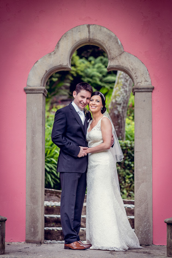 Bride and groom on the Gothic Pavilion at Portmeirion