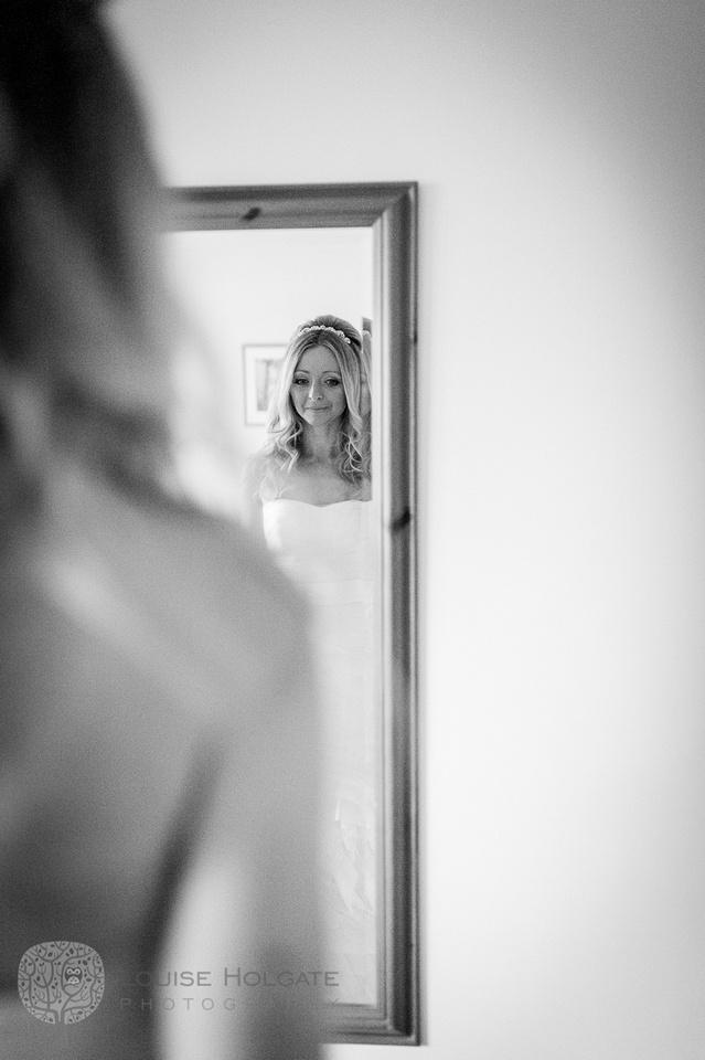 wedding, Hanbury, Worcestershire, bride, getting ready, Vera Wang, dress, natural, documentary, photography, mirror, emotion