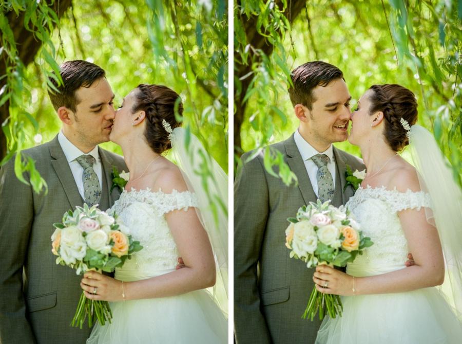 bride, groom, wedding, tree, willow, portrait