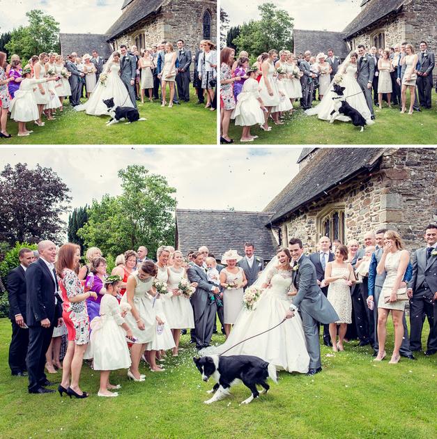 confetti dog church Ditton Priors Shropshire wedding