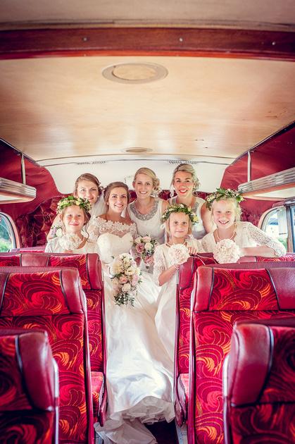 bridesmaids vintage bus Shropshire
