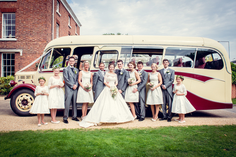 vintage bus bridal party portrait Telford Hadley Park House Hotel