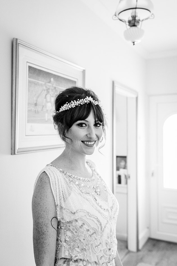Bride in Jenny Packham dress all ready to get married