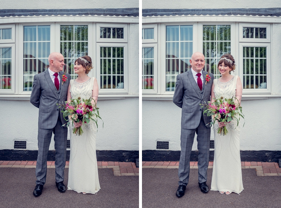 Bride and dad outside family home