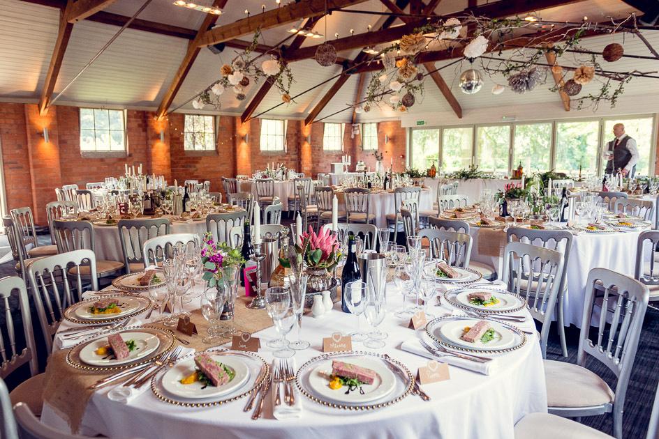 Gorcott Hall barn set up for wedding breakfast