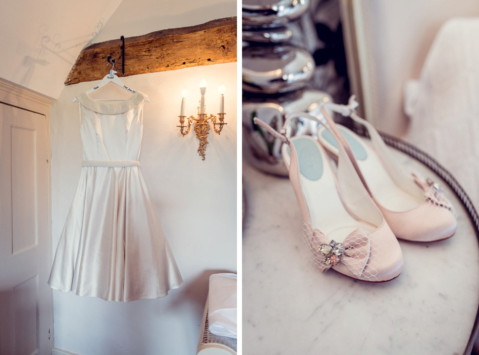 retro fifties style wedding dress and pink vintage style shoes