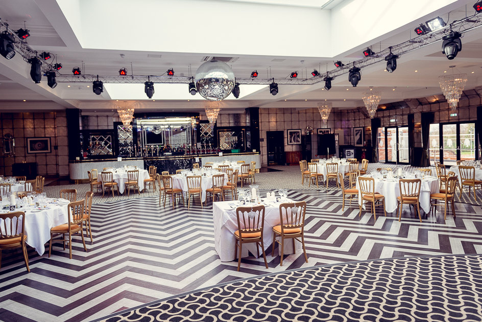black and white art deco Gatsby Room at Old Thorns set up for wedding breakfast