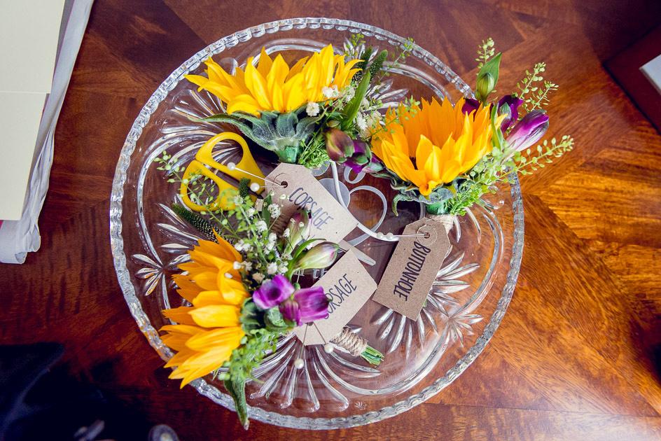 sunflower buttonhole corsage