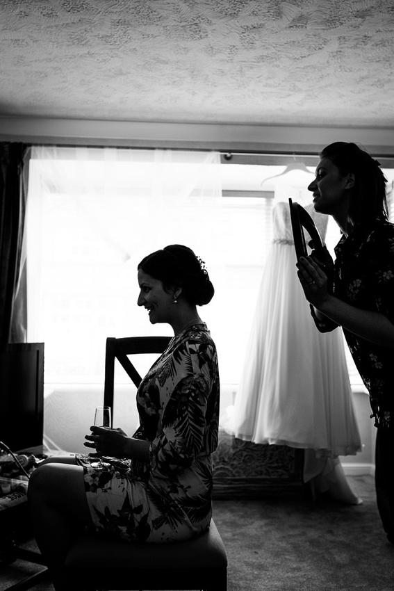 bridesmaid getting ready hair silhouette