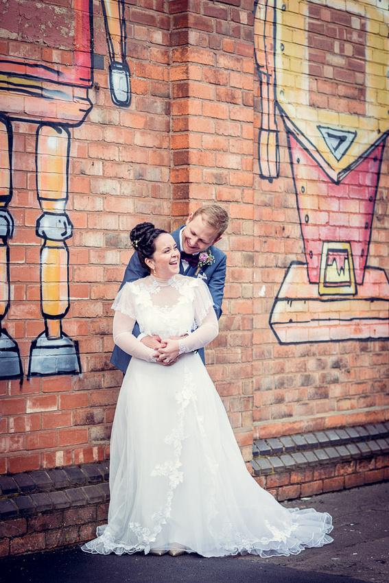 urban wedding couple relaxed portrait