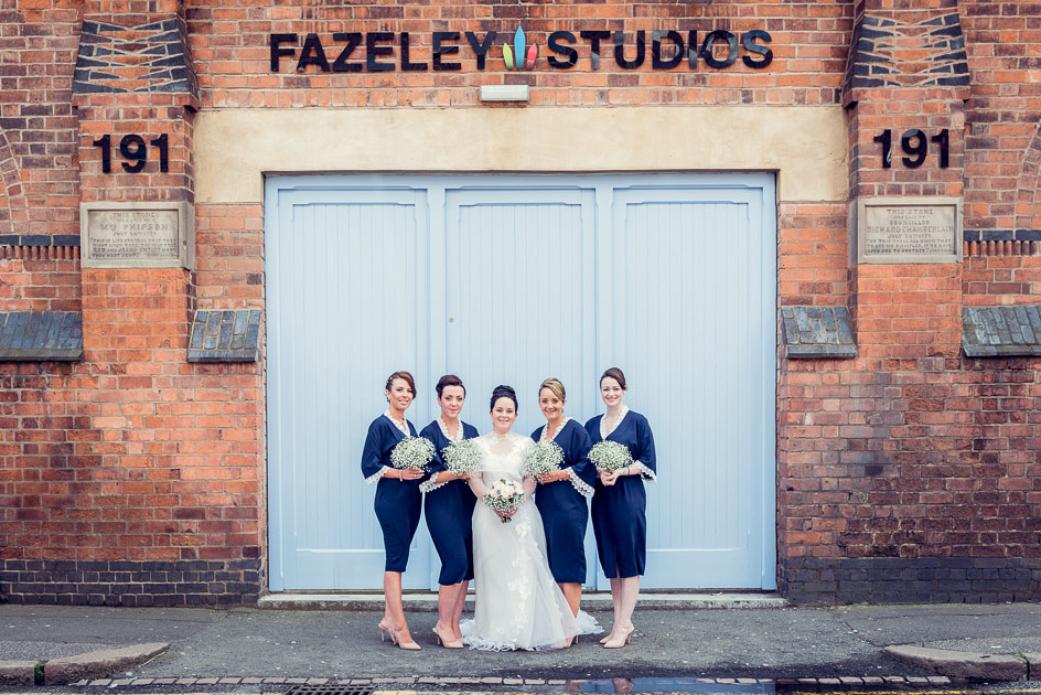 bride and bridesmaids outside Fazeley Studios