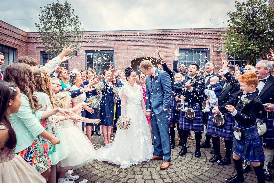 confetti in the courtyard at Fazeley Studios