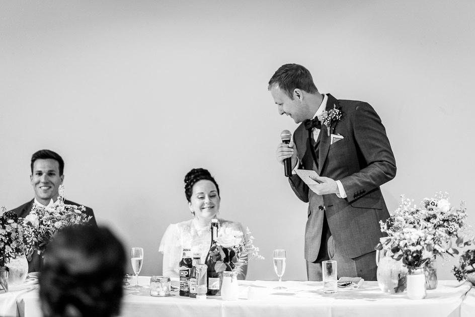 groom giving speech at Fazeley Studios