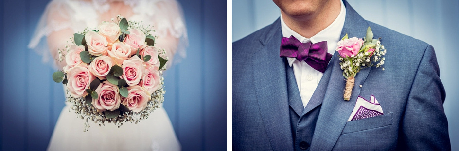 bride's bouquet and groom's buttonhole with pink roses and baby's breath