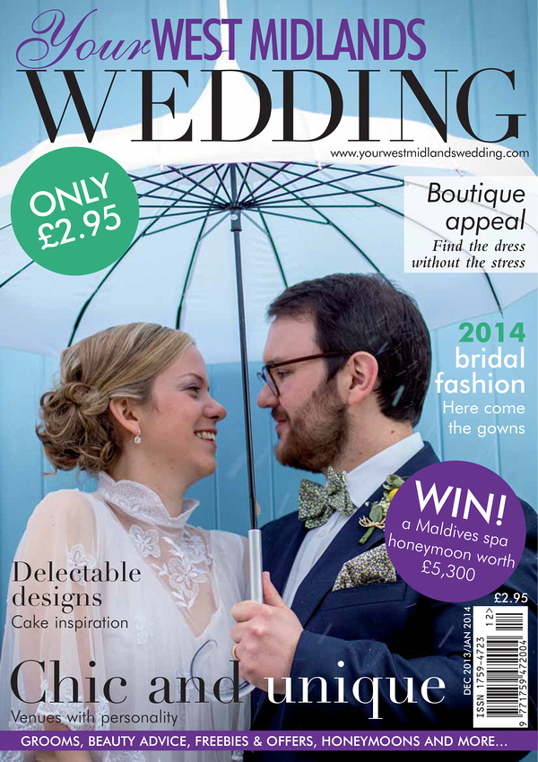 "Your West Midlands Wedding Magazine cover snowy wedding vintage umbrella dress ""Fazeley Studios"" Birmingham"
