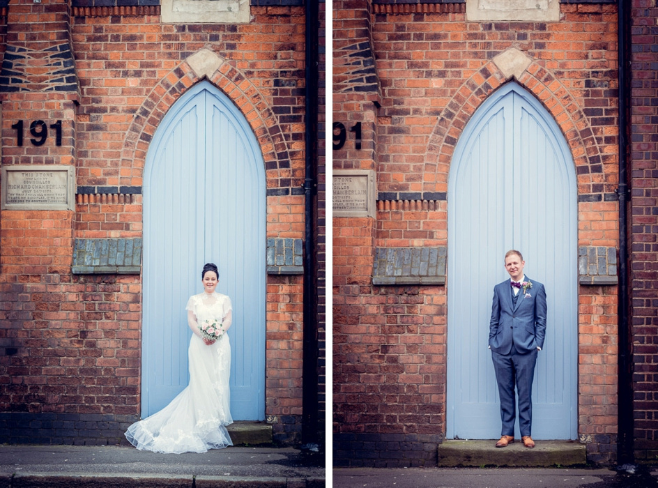 bride and groom portraits outside Fazeley Studios